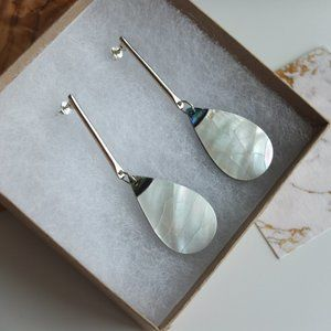 Silver Plated Paua + Pearl Oyster Shell Earrings